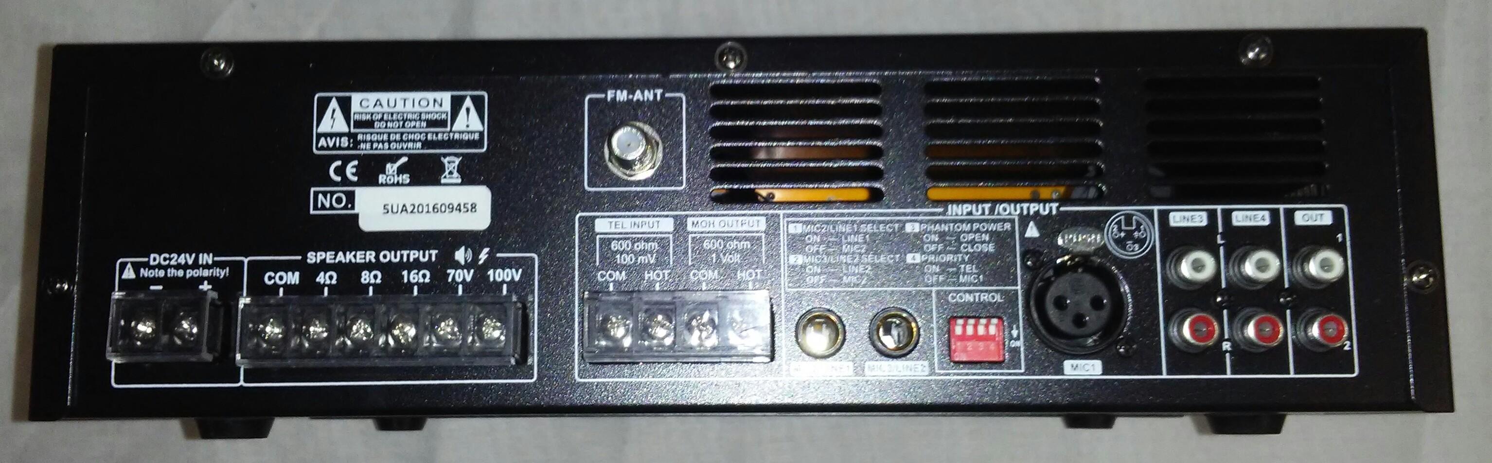 PA120R   120 Watt PA Mixer-Amplifier with FM/USB-SD/Bluetooth