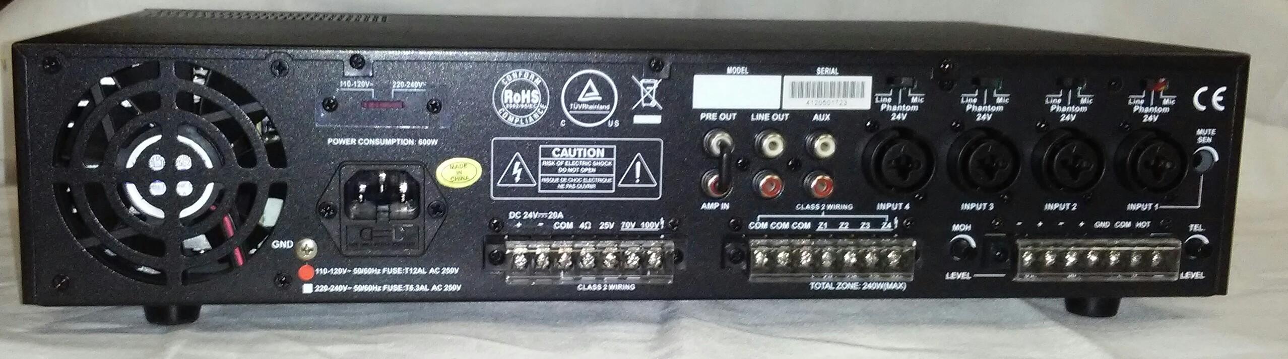 PA1240USB   240 Watt PA Mixer/Amplifier with 4 Zone Capability & USB