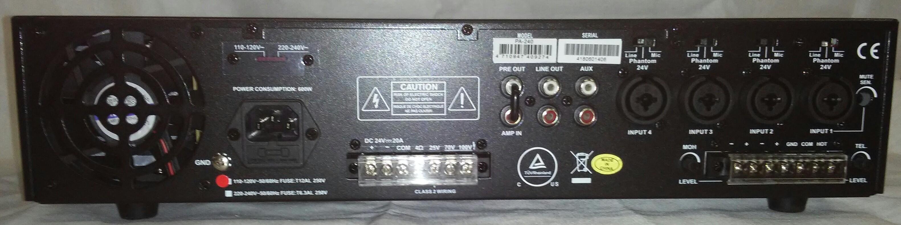 PA1240   240 Watt PA Mixer/Amplifier
